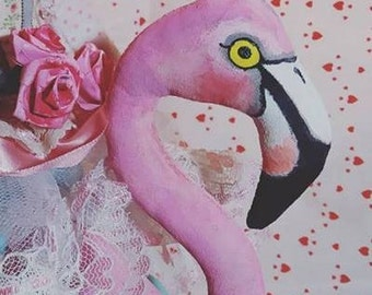 Pink Flamingo Soft Sculpture Doll Alice in Wonderland Queen Of Hearts Hand Painted Doll