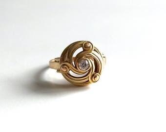 Gorgeous Antique Art Nouveau Victorian Diamond Swirl 14K Gold Ring