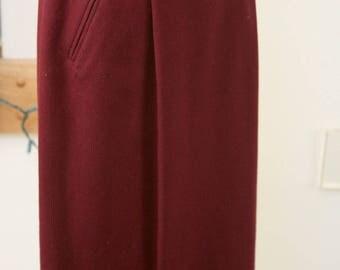 Deep Burgundy Fully Lined  Skirt Size 8, Long Skirt, Circa 80's Skirt, Burgundy Pencil Skirt, 100% Wool Skirt, Winter Skirt, Work Attire