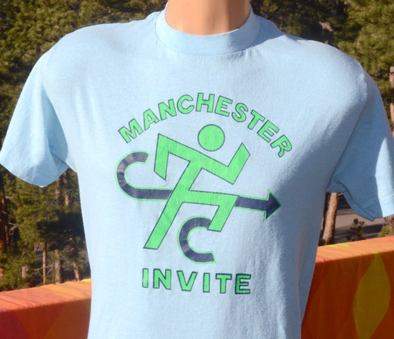 vintage 80s t-shirt MANCHESTER cross country race run track neon tee Medium Large soft
