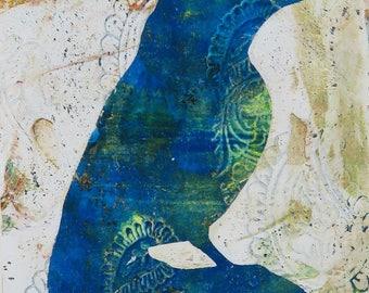 Aged Elegance Bird Print Songbird Monoprint Monotype Illustration Silhouette Blue Green White Ivory Cream Wall Decor Painting Gelatin