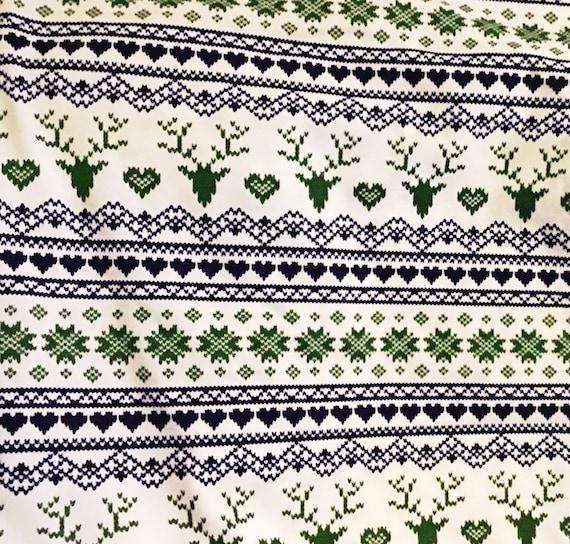 Fair isle Knit Fabric By The Yard, Nordic Snowflake Reindeer ...