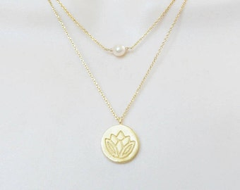 gold layer necklaces, gold  lotus necklace and gold pearl necklace, gold plated sterling silver