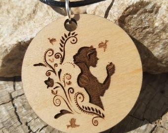Fairest of them All Snow White Inspired Wood Pendant Necklace