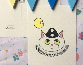 Cartolina Sad Kittens Pierrot - stampa alta qualità su carta avorio da 200 gr - gatto bianco - illustrazione - innamorato triste luna