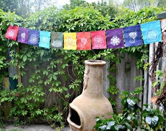 Block print prayer flags * sacred geometry * mandala flower of life *