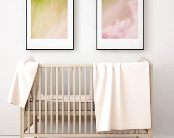 Abstract Art Set - Set of 2 Prints - Scandinavian Nursery Print Set - Baby Girl Bedroom Wall Art - Flower Print Set - Pink Green White