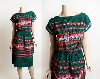 Vintage Guatemalan Dress - Embroidered Bird and Floral Striped Dark Emerald Green Ethnic Boho Folk Dress - Small