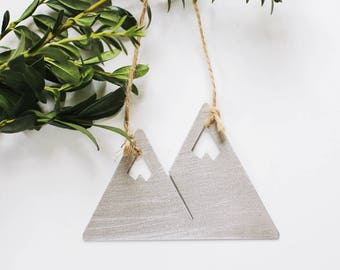 Mountains Ornament | Metal Ornament | Brass Ornament | Steel Ornament | Tree Ornament | Christmas Stocking Stuffer | Mountain Decor