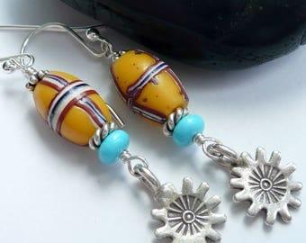 Artisan Yellow French Cross Vintage Venetian Trade Beads RARE Turquoise Sterling Silver Sun Swirls OOAK Tribal Boho Festival Long Earrings