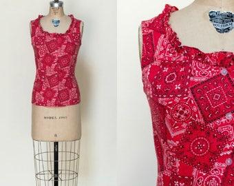 Vintage Bandana Print Blouse --- 1950s Red Cotton Top