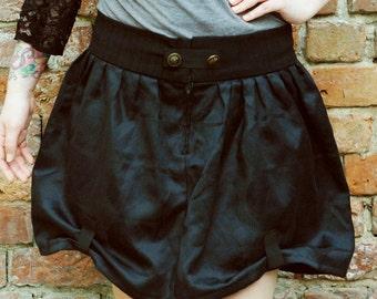 Black dieselpunk skirt, steampunk skirt with gathering and bronze buttons, Black skirt, gathered skirt, goth skirt, black skirt MASQ