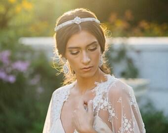 Wedding Tiara Headpiece | Bridal Hair Accessory | Halo Headpiece | Pearl & Crystal Wedding Crown | For the Bride | Something Blue | Ravenna