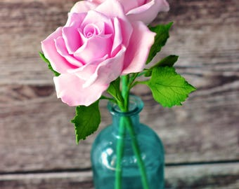 Handcrafted Clay Light Pink Roses in Bud Vase