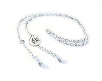 Cross Eyeglass Chain, Monogram Personalize reading glasses chain, Religious Christian eyeglasses chain Holder with Cord