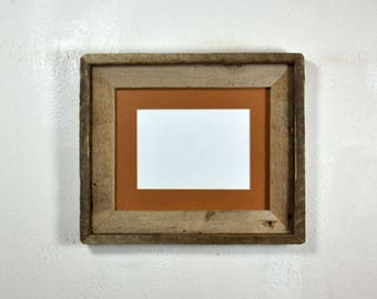 "5"" x 7"" rust mat in 8x10 frame from rustic reclaimed wood complete with glass,mat,backing and hardware free shipping"