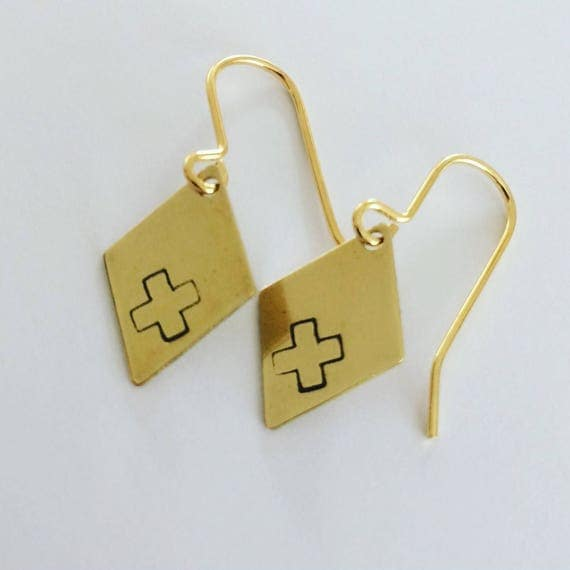 Small Brass Diamond Shape Earrings with Cross Design - Simple - Geometric - Modern - Festival