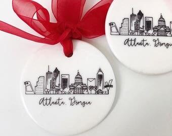 Ceramic Atlanta, Georgia Skyline Ornament