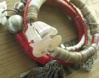 summer ~ antique mop rhinestone African gemstone religious medal tribal bangles