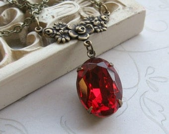 Vintage red jewel necklace, faceted glass, brass setting, Holiday necklace, womens gift