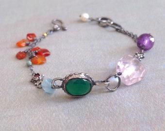 Green Onyx Bracelet - Amethyst  Bracelet - Multicolor Bracelet - Ruby - Oxidized Sterling Silver Bracelet - Rustic Bracelet - Bezel Bracelet