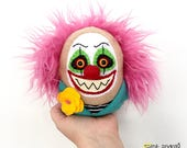 Evil Clown Plushie, Stuffed Creepy Scary Art Doll, Wild Pink Hair, Insane, Crazy Circus, Carnival Plush, READY to SHIP