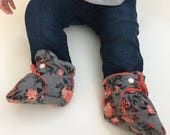 Floral Stay on Booties {crib shoes, stay on slippers, knit fabric booties, baby shower gift}