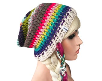 Slouch Beanie Colorful Rainbow Mix Match Crochet Slouch Beanie Hat with Ties