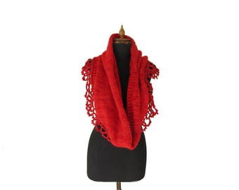 Hand knitted Poncho - Bridal Cover Shoulder - Red Capelet - Warm Scarf - Hand Knit Cowl - Wedding Cover Up - Bridal Wrap - Bridesmaid cover
