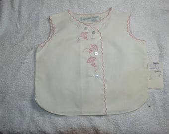 Vintage A Little Angel Baby Clothes Top, White with Pink Trim 3 months Cotton Top, flower Basket, A Little Angel Original with tags