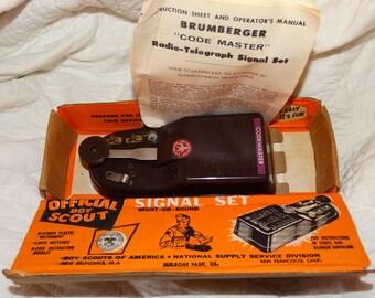 1948 Brumberger Code Master, Radio Telegraph Signal Set, Official Boy Scout Signal Set, Original Box, Sight or Sound, Morse Code, Boy Scouts