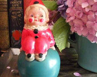 Antique Celluloid Rattle Clown on a Ball Roly Poly Vintage Toy