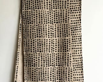 """black pebbles. block printed 72"""" linen table runner. hand printed with hand carved blocks."""