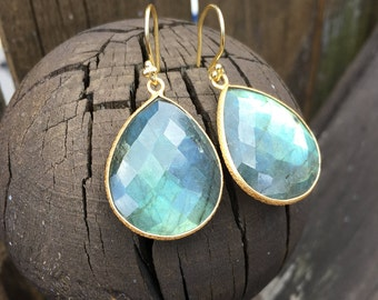 Labradorite Drop Earrings,Labradorite Gold Earrings,Teardrop Gold Earrings,Teardrop Labradorite Earrings,Big Drop Earrings,gift under 100