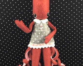 Handstitched Squid Felt Doll Plush Softie Keepsake Doll