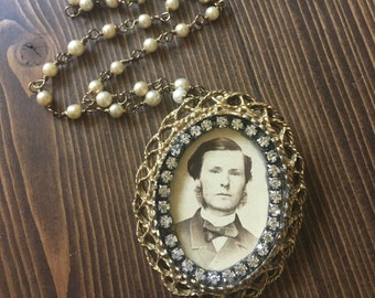 My Vintage Boyfriend Thomas Necklace Vintage Photograph Portrait Frame Handsome Man Sideburns Victorian