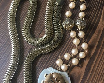 Grace Vintage Repurposed Necklace Flower Buckle Pearl Mother of Pearl Gold Cream