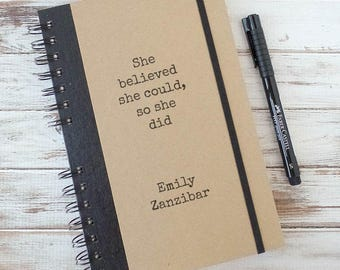 Weekly Planner, Writing Journal, Personalized Gift, Graduation Gift, Lined Journal SB1