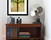 Bluebird of Happiness, Blue Birds Print,Tree Print, Earthy, Rustic Home Decor, Bluebird Painting, Contemporary Art