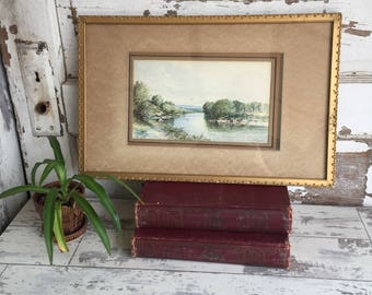 Antique Watercolor Painting English 1875 T. Campell - Fishing Pastoral Scene