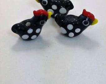 Little Black Hen Lampwork Bead - Set of 3