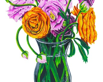 Ranunculus Gouache Illustration