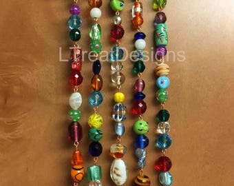 Wind Chime with Glass Beads, Crystals and Bells, Housewarming Gift