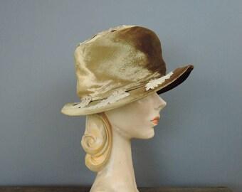 Vintage Velvet Hat with Velvet leaves, 1960s Marcelle Originals