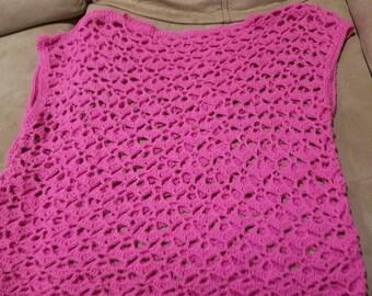 Fuchsia Crochet Overshirt