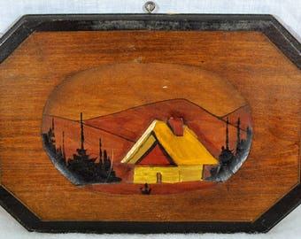 Small Hand Made Wall Plaque - Wooden Chalet in the Mountains - Hand Painted