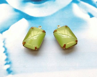 Vintage CZECH Glass Stones 18x13mm Octagon Lime Green Moonstone in Raw Brass Open Back Prong Setting  670RAW x2