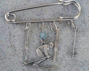 Ski Pin, Vintage Pin, Vintage Brooch, Vintage Ski Pin, Vintage Ski Brooch, Pin, Skiers Jewelry, Skiers Pin, Skiers Brooch, Pin Jewelry