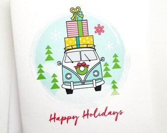 Vintage Camper Van with Presents Happy Holidays Christmas Card