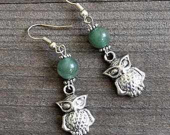 Silver Owl Earrings Court of Owls Masquerade Owl Earrings With Natural Green Jade Gemstone Beads